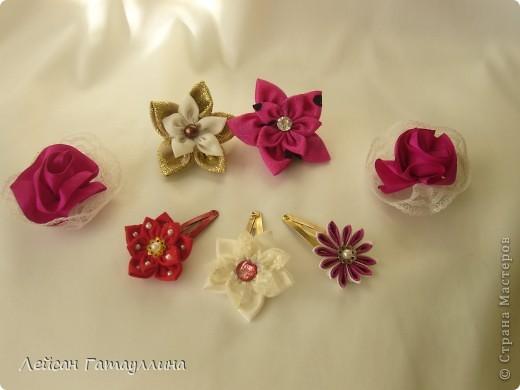 """Заколка-краб  """"Роза-пион"""". Шелк, тафта, атласные ленточки, бусины. фото 17"""