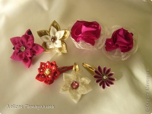 """Заколка-краб  """"Роза-пион"""". Шелк, тафта, атласные ленточки, бусины. фото 18"""