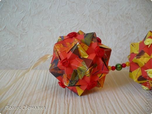 Здравствуйте, мои дорогие!!! Я Вам еще не надоела?  Сегодня у меня глобальная гирлянда! Идея подсмотрена у Куси-Муси. Кусудамы из книги Tomoko Fuse - Floral Globe Origami   фото 2