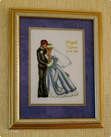 """""""Свадебный поцелуй"""" Очень мне понравился этот набор, нежненький такой, ну а самое главное - не только вышивка крестом, но и бисером, лентами. фото 1"""