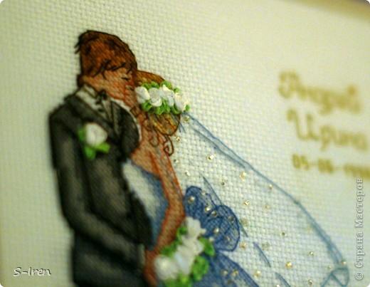 """""""Свадебный поцелуй"""" Очень мне понравился этот набор, нежненький такой, ну а самое главное - не только вышивка крестом, но и бисером, лентами. фото 2"""