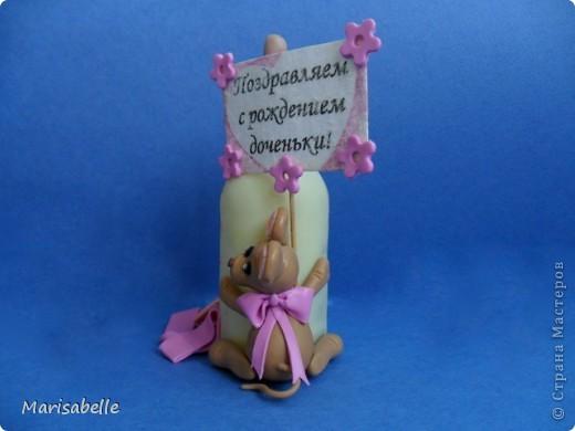 Подарок для новорожденной – торт из подгузников (памперсов) и поделка из холодного фарфора фото 7