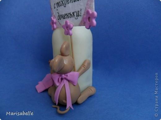 Подарок для новорожденной – торт из подгузников (памперсов) и поделка из холодного фарфора фото 8