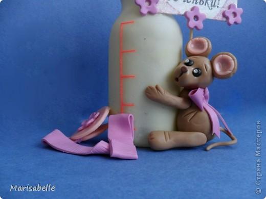 Подарок для новорожденной – торт из подгузников (памперсов) и поделка из холодного фарфора фото 10