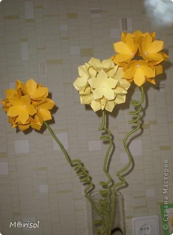 Кусудамы превратились в цветы...  Евгеша, спасибо за идею https://stranamasterov.ru/node/143987  фото 3