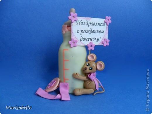 Подарок для новорожденной – торт из подгузников (памперсов) и поделка из холодного фарфора фото 13