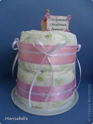 Подарок для новорожденной – торт из подгузников (памперсов) и поделка из холодного фарфора фото 1