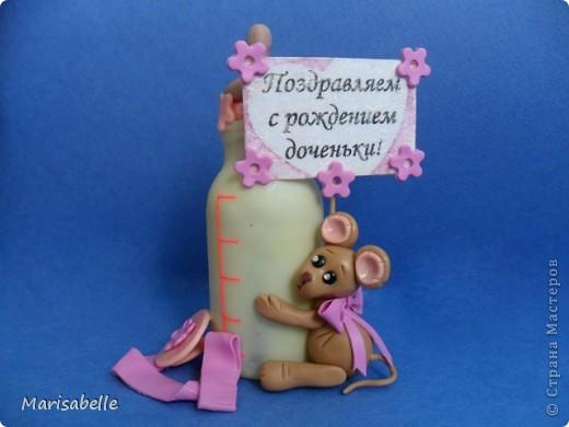 Подарок для новорожденной – торт из подгузников (памперсов) и поделка из холодного фарфора фото 5