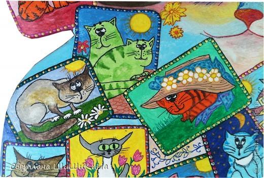 Собиралась росписать карточного котика по рисунку Оксаны Заики, но как то у меня к нему душа не лежала... Кот этой формы вылеплен и давно уже высох, а карты не хочется рисовать, хоть тресни... Вот я и решила заменить их картинками с батика художницы Алисы Майской. фото 5