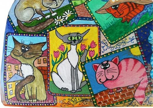 Собиралась росписать карточного котика по рисунку Оксаны Заики, но как то у меня к нему душа не лежала... Кот этой формы вылеплен и давно уже высох, а карты не хочется рисовать, хоть тресни... Вот я и решила заменить их картинками с батика художницы Алисы Майской. фото 4
