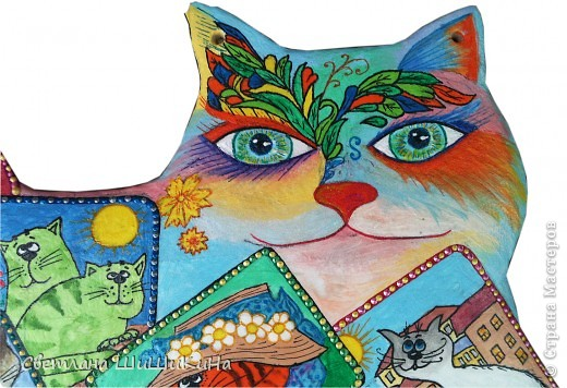 Собиралась росписать карточного котика по рисунку Оксаны Заики, но как то у меня к нему душа не лежала... Кот этой формы вылеплен и давно уже высох, а карты не хочется рисовать, хоть тресни... Вот я и решила заменить их картинками с батика художницы Алисы Майской. фото 2