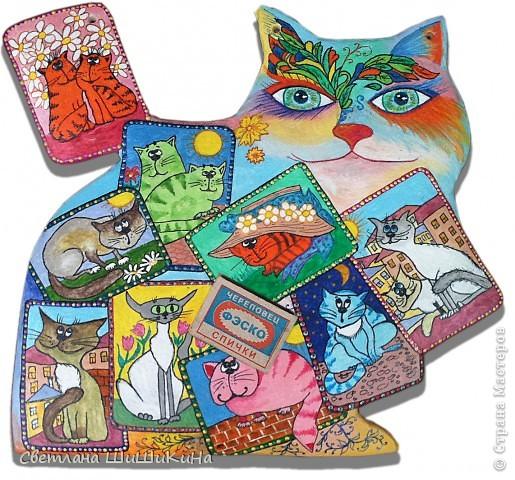 Собиралась росписать карточного котика по рисунку Оксаны Заики, но как то у меня к нему душа не лежала... Кот этой формы вылеплен и давно уже высох, а карты не хочется рисовать, хоть тресни... Вот я и решила заменить их картинками с батика художницы Алисы Майской. фото 7