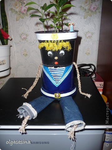 Вот и готов мой кавалер для горшечной девушки. Решила что он будет моряком и к тому же чернокожим (других горшочков не нащлось в доме) фото 4