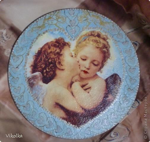 Девочки! Представляю вам очередное панно на виниловом диске  (диаметр 25 см) « Амур и Психея». Таким я его себе с утра представила,  сделала эскиз, к вечеру было готово.   фото 2
