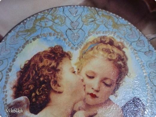 Девочки! Представляю вам очередное панно на виниловом диске  (диаметр 25 см) « Амур и Психея». Таким я его себе с утра представила,  сделала эскиз, к вечеру было готово.   фото 3