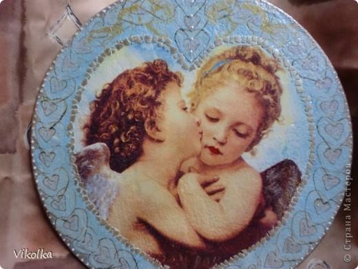 Девочки! Представляю вам очередное панно на виниловом диске  (диаметр 25 см) « Амур и Психея». Таким я его себе с утра представила,  сделала эскиз, к вечеру было готово.   фото 4
