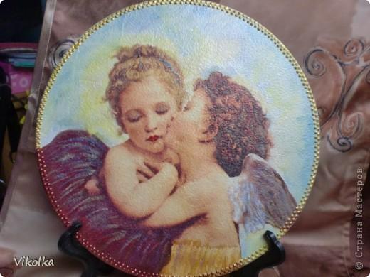Девочки! Представляю вам очередное панно на виниловом диске  (диаметр 25 см) « Амур и Психея». Таким я его себе с утра представила,  сделала эскиз, к вечеру было готово.   фото 6