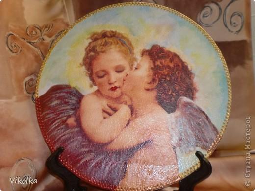 Девочки! Представляю вам очередное панно на виниловом диске  (диаметр 25 см) « Амур и Психея». Таким я его себе с утра представила,  сделала эскиз, к вечеру было готово.   фото 7