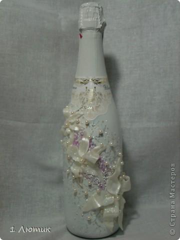 Декор предметов Свадьба Лепка Бутылка на свадьбу Бисер Бусинки Бутылки стеклянные Пластика фото 1.