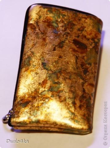 Эксклюзивный сверкающий ежедневник (не датированный), декорированный в технике декупаж, с отделкой хлопьями золотой потали.  фото 5
