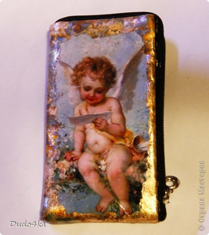 Эксклюзивный сверкающий ежедневник (не датированный), декорированный в технике декупаж, с отделкой хлопьями золотой потали.  фото 4
