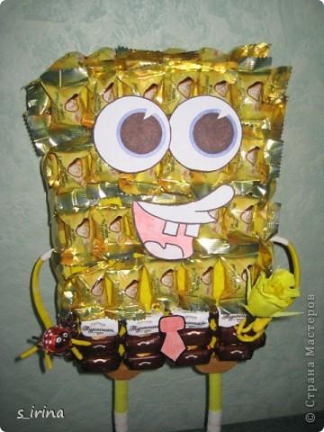 Подарок из конфет- губка Боб фото 3