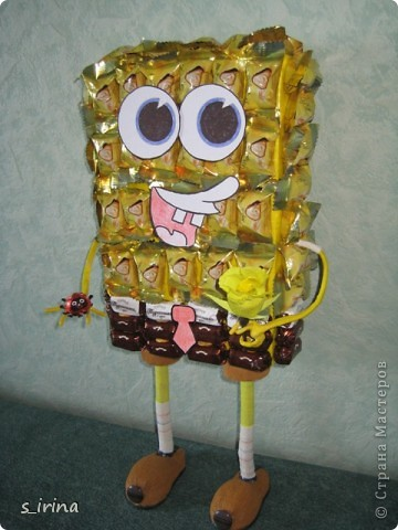 Подарок из конфет- губка Боб фото 7