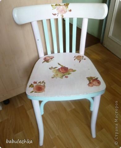 Мой стул ,дважды  переделанный, он ждет  дальнейших перевоплощений  и я что-нибудь придумаю другое: может шебби, может роспись,а может  мягкое сиденье? фото 1