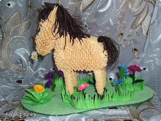 """Здавствуйте, жители Страны! Сегодня я хочу похвастаться Вам своей новой работой, которую сделала для маленькой девочки ко дню рождения! Она ОЧЕНЬ любит лошадей и ее родители ОЧЕНЬ просили """"сделать ей какую-нибудь поделку ввиде лошади"""".  Я остановилась на двух вариантах, первый  вариант перед Вами, а второй еще в процессе работы и будет выполнен в технике квиллинг(закончу, обязательно похвастаюсь!). фото 3"""
