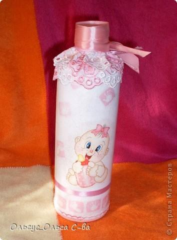 Бутылка сделана в подарок подруге, родившей третьего ребенка! фото 1