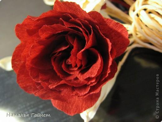 """Панно """"Чайные розы"""". Под впечатлением результатов от МК http://stranamasterov.ru/node/131184?c=favorite накрутила букетик таких роз только из креповой бумаги Примечательно в таких цветах то, что они делаются без клея фото 19"""