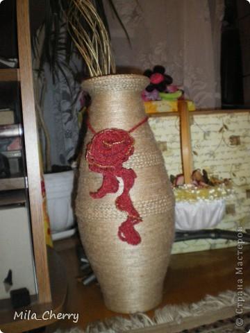 Декор предметов Вязание крючком Декор старой вазы Бисер Клей Нитки Шпагат.