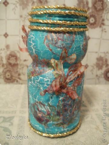 Жила-была обычная баночка и в один прекрасный день она превратилась в вазочку=) фото 2