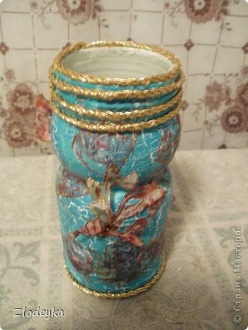 Жила-была обычная баночка и в один прекрасный день она превратилась в вазочку=) фото 6