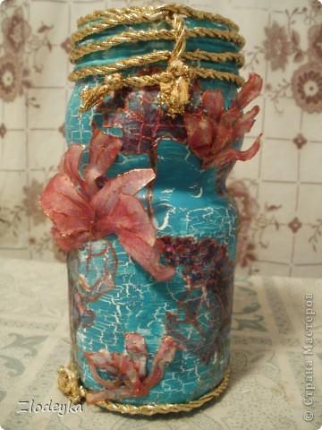 Жила-была обычная баночка и в один прекрасный день она превратилась в вазочку=) фото 1