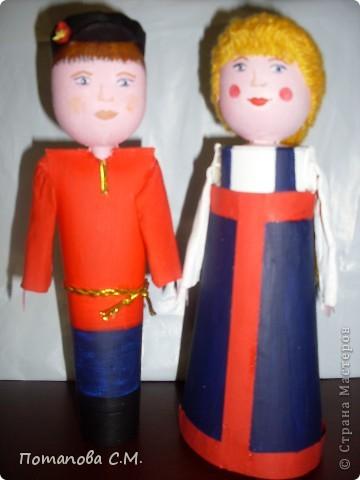 Куклы сделанные из бросового материала расписанные акриловыми красками. Авторы Станина Ирина и Панковец Анастасия. фото 1
