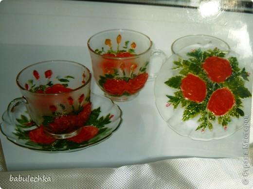 Чайный сервиз: прозрачное стекло с выпуклыми розами