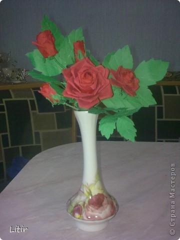 Решила попробовать что-то кроме квиллинга. Розы делала по МК ASTORIA - http://fotki.yandex.ru/users/asti-n/album/157207/ . С нетерпением жду ваших комментариев. фото 2