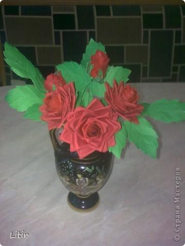 Решила попробовать что-то кроме квиллинга. Розы делала по МК ASTORIA - http://fotki.yandex.ru/users/asti-n/album/157207/ . С нетерпением жду ваших комментариев. фото 4