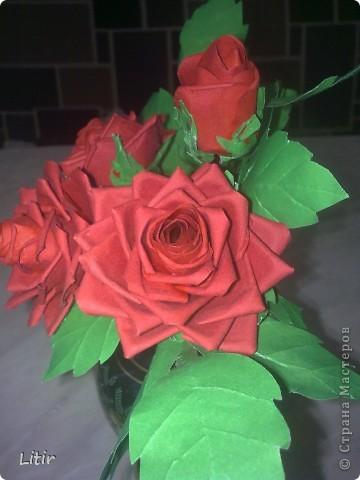 Решила попробовать что-то кроме квиллинга. Розы делала по МК ASTORIA - http://fotki.yandex.ru/users/asti-n/album/157207/ . С нетерпением жду ваших комментариев. фото 5