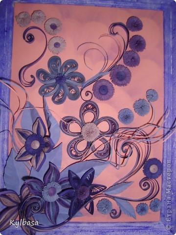 Вот такая цветочная фонтазия родилась в моей голове после приобретения набора бумаги в сиреневых тонах.  фото 2