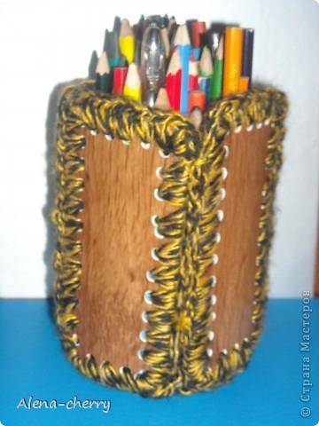 карандашница из газетных трубочек фото 3