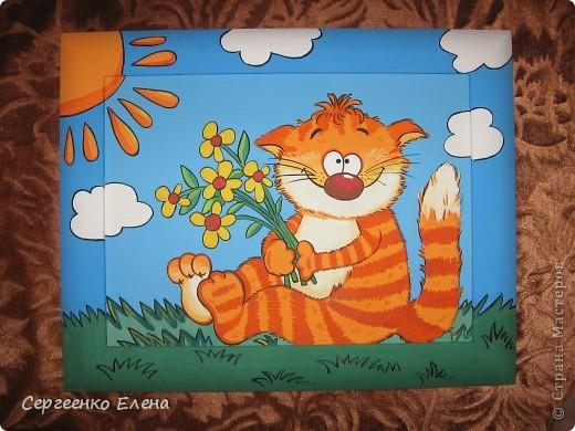 Недавно, заведующая нашим детским садом сказала, что у меня болезнь на рыжих котов. Я сначала обиделась (ведь я люблю всех кошек, не зависимо от расцветки). Но потом, проанализировав её слова, просмотрев все фото моих детских картин, я ужаснулась... что ни кот - то РЫЖИЙ!!! Другого цвета вовсе нет! Значит это точно - болезнь! Пришлось сложить оду рыжим котам. Посмотрите, что получилось. фото 1