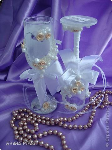 Вот и меня затянула свадебная тема...Спасибо большое Олесе Ф. за ее чудесные МК, которые меня вдохновили на создание бокальчиков!!! фото 4