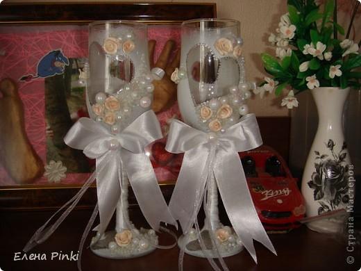 Вот и меня затянула свадебная тема...Спасибо большое Олесе Ф. за ее чудесные МК, которые меня вдохновили на создание бокальчиков!!! фото 6