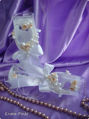 Вот и меня затянула свадебная тема...Спасибо большое Олесе Ф. за ее чудесные МК, которые меня вдохновили на создание бокальчиков!!! фото 3