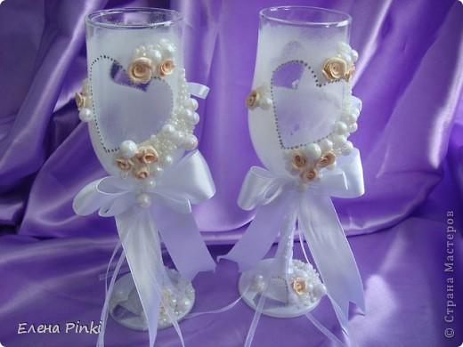 Вот и меня затянула свадебная тема...Спасибо большое Олесе Ф. за ее чудесные МК, которые меня вдохновили на создание бокальчиков!!! фото 1