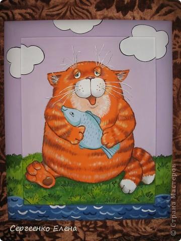 Недавно, заведующая нашим детским садом сказала, что у меня болезнь на рыжих котов. Я сначала обиделась (ведь я люблю всех кошек, не зависимо от расцветки). Но потом, проанализировав её слова, просмотрев все фото моих детских картин, я ужаснулась... что ни кот - то РЫЖИЙ!!! Другого цвета вовсе нет! Значит это точно - болезнь! Пришлось сложить оду рыжим котам. Посмотрите, что получилось. фото 4