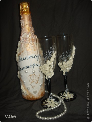 Вот такая бутылка получилась в комплект к моим бокалам фото 2