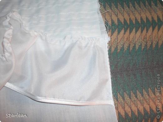 Вообще я не умею шить, если только что-то прострочить. но как получилось это платье, сама удивляюсь. Нам понадобится: ткань для топа - сорочечная (похожа на стрейч) ткань для юбки - сорочечная (хлопок), органза (у меня были обрезки от штор), косая бейка резинка шляпная, тонкая фото 8